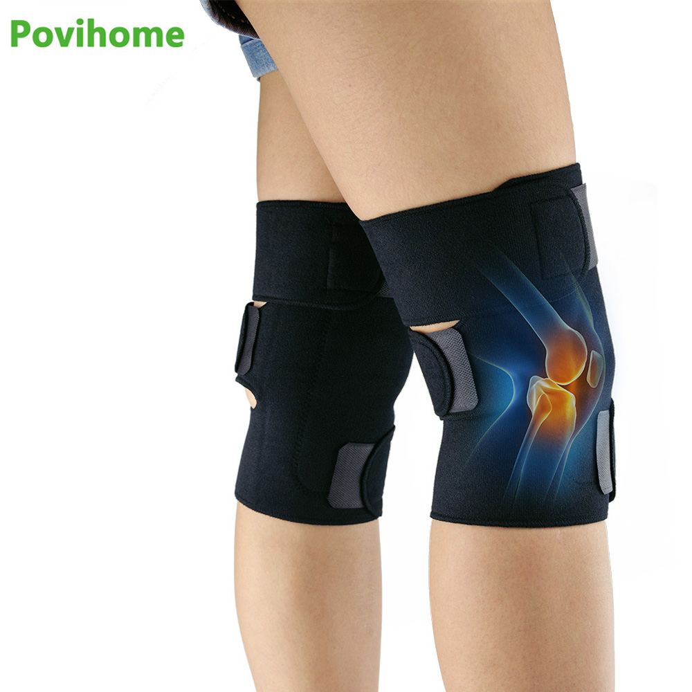 1pair Massager Tourmaline Self-Heating Knee Leggings Brace Support Magnetic Therapy Knee Pads Adjustable Knee Health Care Z700