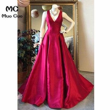 2018 Hot Pink Prom Dresses Long V-Neck Satin Sweep Train Draped Vestido Longo Sleeveless Formal Evening Party Dress