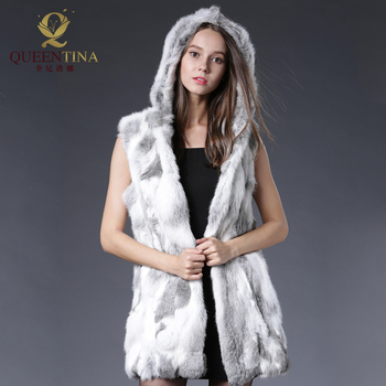 New Genuine Rex Rabbit Fur Vest with Hooded Silm Real Rabbit Fur Waistcoats Winter Sleeveless Natural Rabbit Fur Gilet Jacket