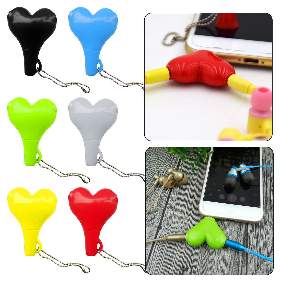 3.5mm Stereo Audio Headset Heart Shape Headphone Splitter For Couple Connector Adapter For Mobilephone MP3 MP4