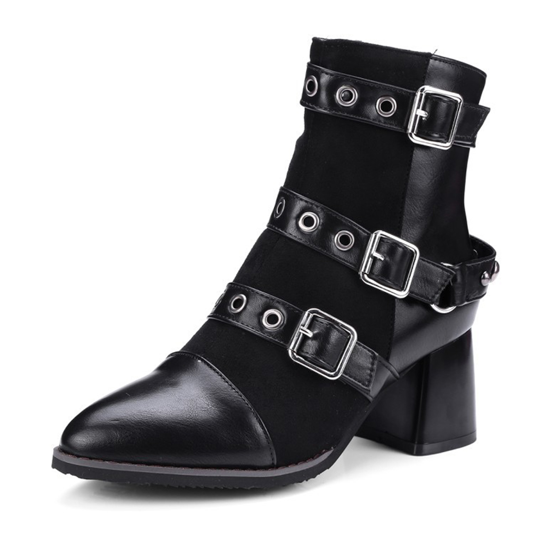Boots women Fashion Miliatry Punk Goth Rivets Belt Buckle Ankle Boots Pointed Toe Shoes Women Big PLus Size 43 odetina new fashion women metal buckle ankle boots pointed toe gothic punk style motorcycle boots winter shoes black big size 48