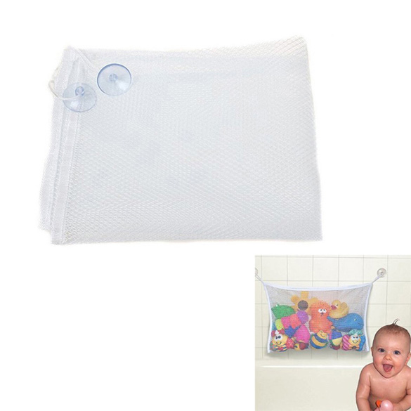 Convenient Bathroom Baby Toys Storage Bag with 2 Suctions Orgnizing Suction Bag Case for Baby Bath Toys 2 Size