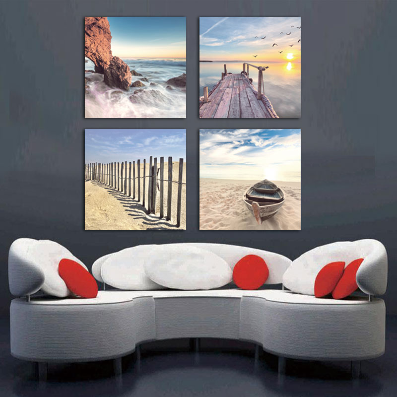 Unframed 4 Panels Sunset Seascape Scenery Picture Print Painting Modern Canvas Wall Art for Wall Decor Home Decoration Artwork