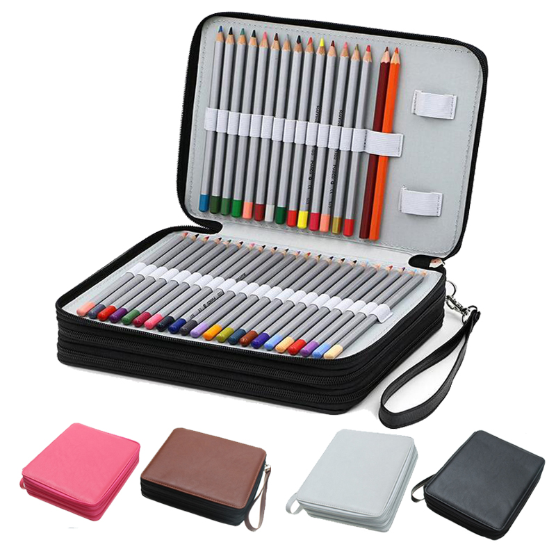 124 Holder 4 Layer PU Leather Large Capacity Pencil Case Pouch Pen Bag for Colored Watercolor Pencils Art Stationery Supplies large capacity simple 120 pu pencil bag case storage pouch drawing tools pencils stationery supplies