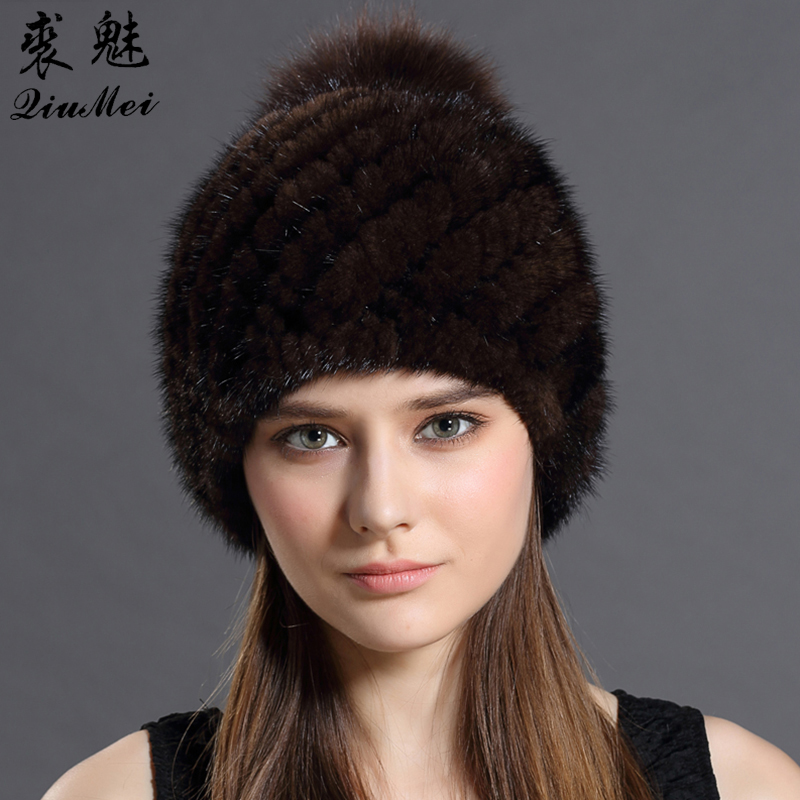 QiuMei Real Mink Fur Hat Cap With Fox Fur Pompoms Hat For Women New Brand Thicken