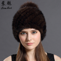 Qiumei real mink fur hat cap with fox fur pompoms hat for women new brand thicken.jpg 200x200