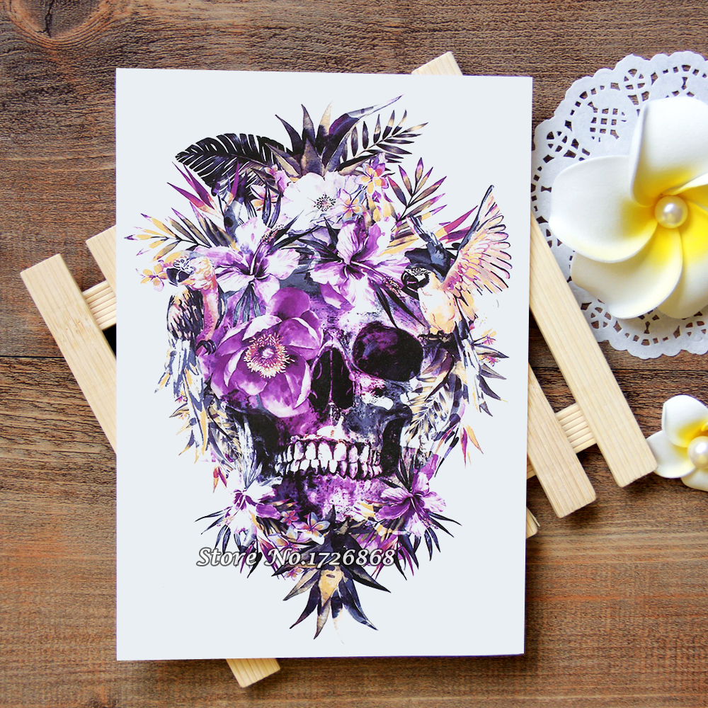 Waterproof Temporary Tattoos Stickers Purple flowers skull Tattoo