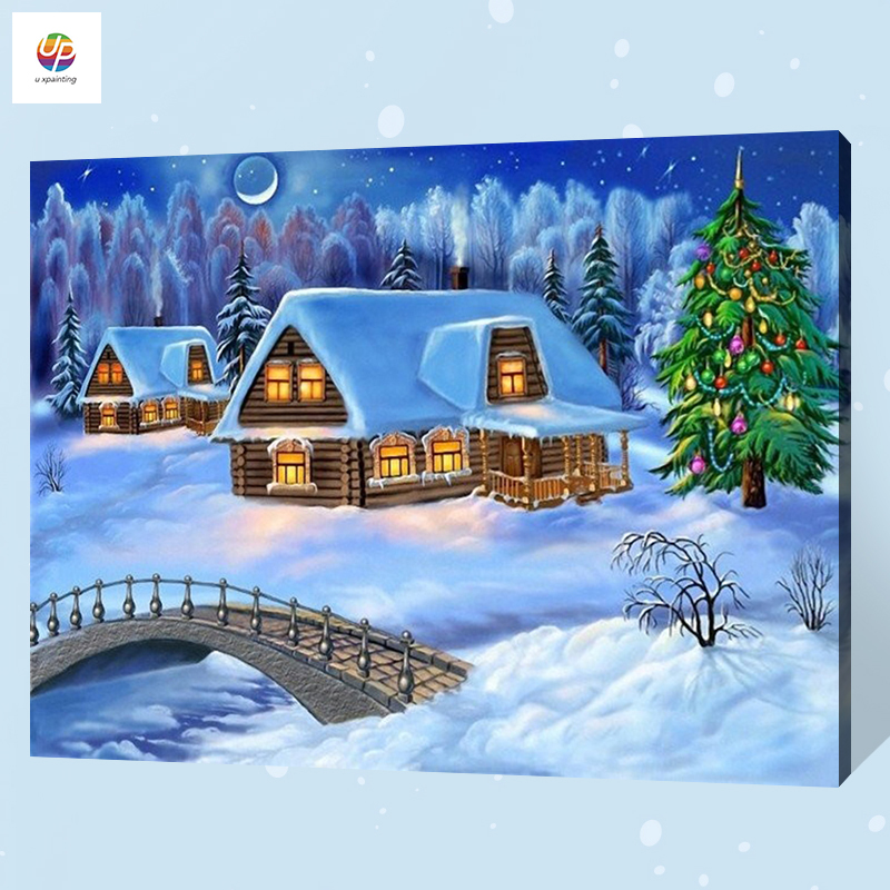 Frameless Digital Painting By Number Snow Cabin Christmas