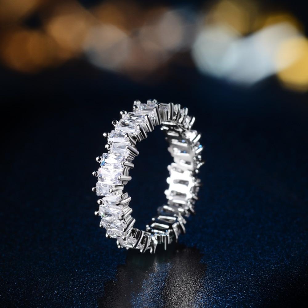לבן זהב צבע נוצץ מלבן CZ קריסטל חתונה נצחיות טבעות להקות עבור נשים וגברים אופנה תכשיטים Bague Anillos