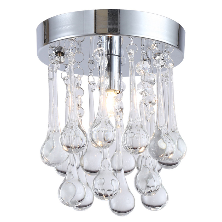Ceiling Lights & Fans Knowledgeable Modern Mini Clear Crystal Led Ceiling Lights,rain Drop Style Ceiling Lamp With E14 Base Lighting Fixture For Living Room Decor Price Remains Stable