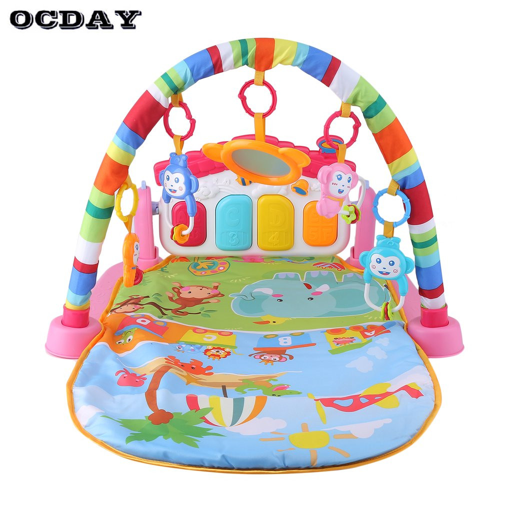 Baby Play Mat 3 in 1 Rug Toys Kid's Crawling Music Play Game Developing Mat Pad with Keyboard Infant Carpet Education Rack Toy weide brand clock men luxury automatic watch analog quartz men sports watches water resistant leather bracelet saat waterproof