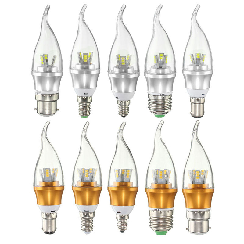 LED Light Bulb E12 E14 E27 B22 B15 3W 6W 2835 SMD Lamp Chandelier Flame Candle LED Lamp Bulb Pure Warm White Dimmable AC220V