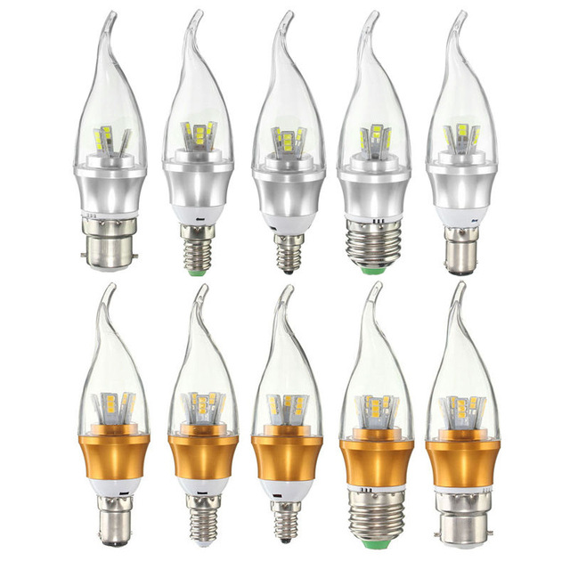 LED Light Bulb E12 E14 E27 B22 B15 3W 6W 2835 SMD Lamp Chandelier ...