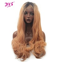 Deyngs Ombre Black To Orange Synthetic Lace Front Wig for Women Natural Hairline Heat Resistant 150% Density Half Hand Tied