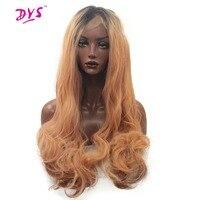Deyngs ombre negro a orange sintético resistente al calor peluca del frente del cordón para las mujeres rayita natural 150% densidad media mano atada