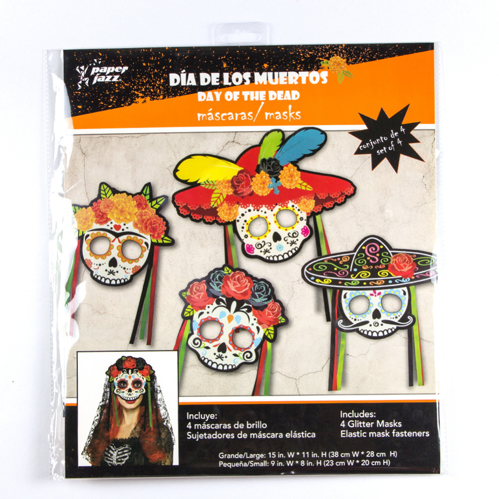 Halloween Mask Mexican Skull Mask Day Of The Dead Party Decorations 4pcs set Sugar Skull Photo Booth Props Halloween Party in Party Masks from Home Garden