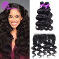 10A Brazilian Body Wave 3Pcs With 13*4 Lace Frontal Closure 1Pc Ear To Ear Bleached Knots Lace Frontal Bundles Free Part
