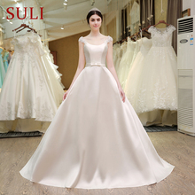 SL-53 Princess Pearls Flowers Belt Bow Bridal Gowns Corset Cheap Wedding Dress Made in China