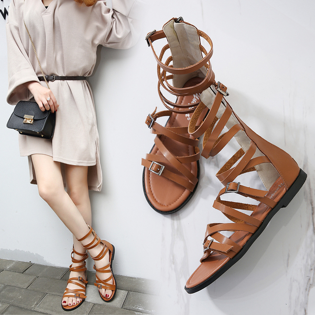 db0ad9a3a5034e New Style Hot Sales Ladies Fashion Rome Flat Sandals Buckle Strap Narrow  Band Open Toe Female