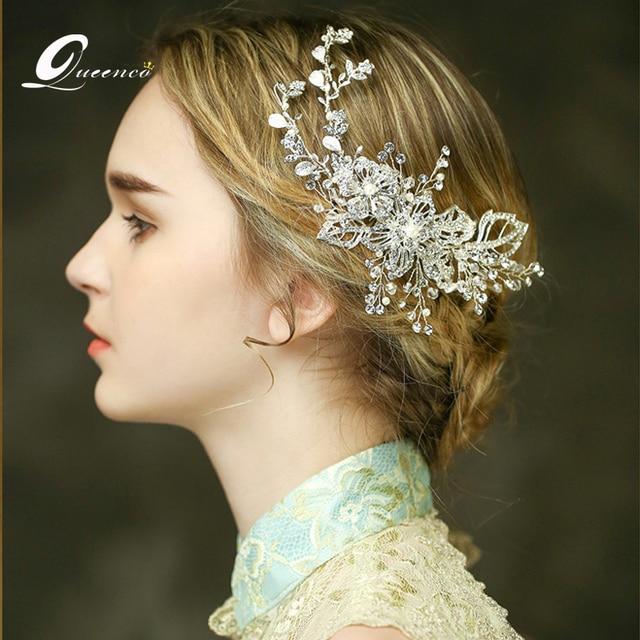 Bridal Comb Hair Clip Silver Leaves Tiaras Wedding Accessories Headpiece Handmade Ornament Women