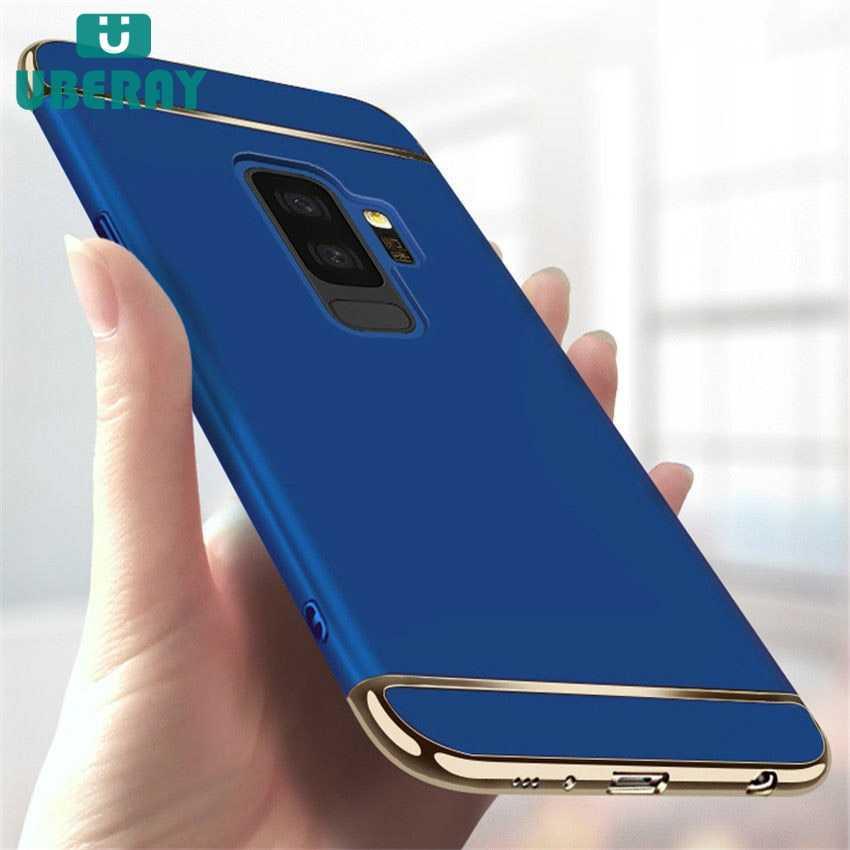 Lüks 3 IN 1 sert PC kasa Samsung Galaxy A8 artı J4 J6 artı J3 J5 J7 2017 S6 s7 kenar S8 S9 artı not 9 8 kapak için A3 A5 A7