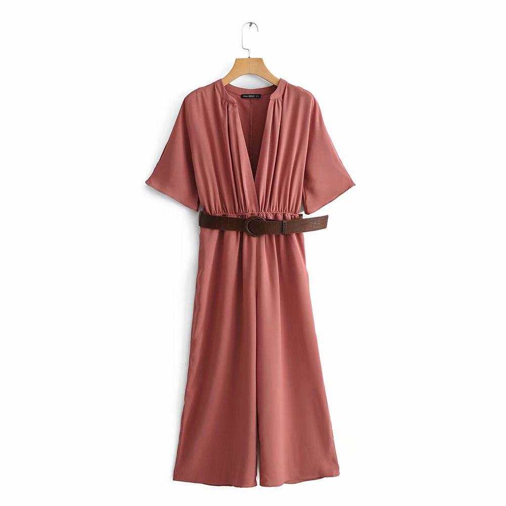 2019 Women Summer Red Chic Za Long Jumpsuit Female Fashion Adjustable High Waist With Belt V-neck Bodysuit Combinaison Femme
