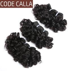 Код Калла короткий-cut человеческие волосы предварительно цветные натуральные волосы Связки 3 шт. 6 дюймов малазийские кудрявые Вьющиеся Weave