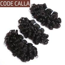 Code Calla mechones de cabello humano rizado, mechones de cabello humano postizo de doble trama, extensiones de cabello humano rizado de corte corto