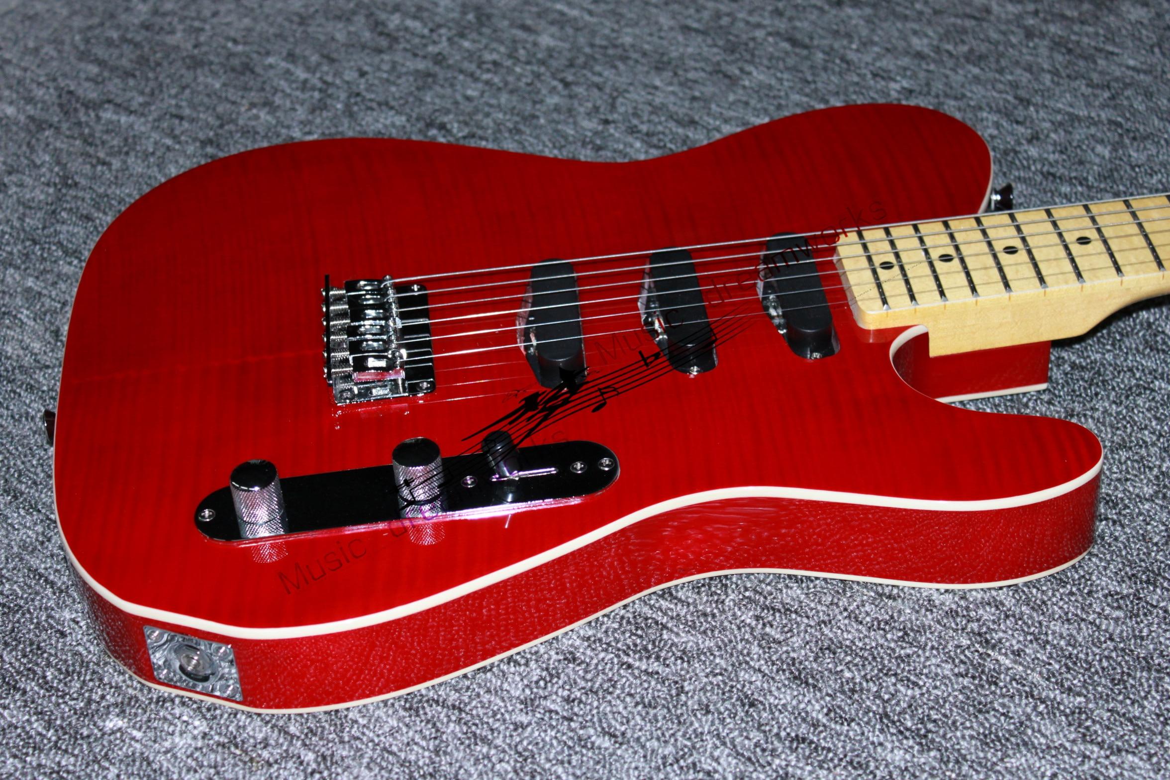 Guitare électrique firehawk chine, grain de bois d'érable flamme T1L2 guitare de haute qualité couleur rouge logo peut être changé livraison gratuite