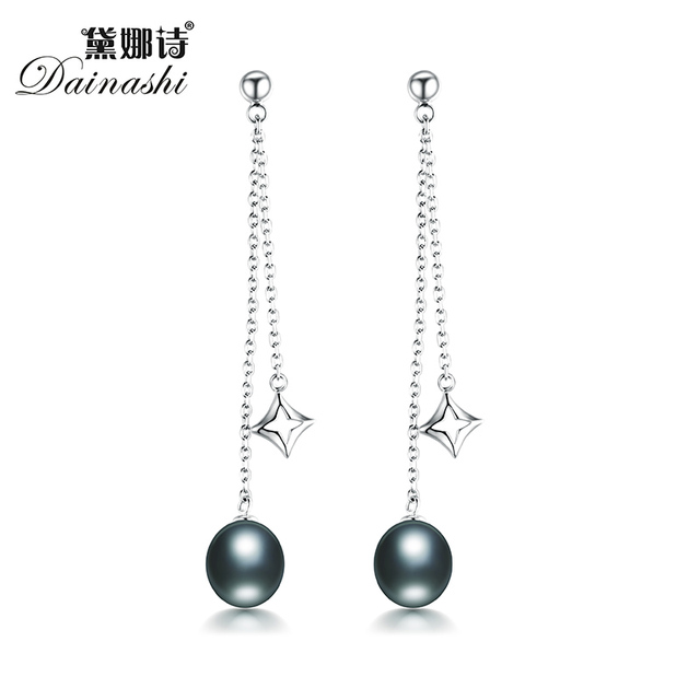 The New Listing Little Star Women Long Drop Pearl Earrings Fine Jewelry Aaaa Genuine Freshwater