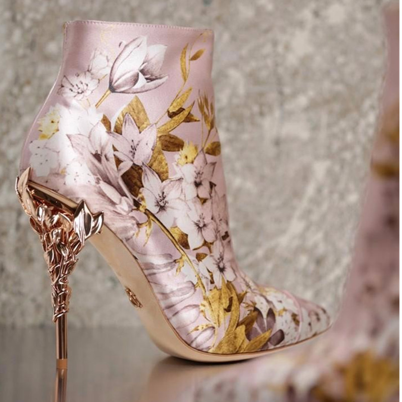 Luxury Designer Pink Satin Print Eden Ankle Boot Leaves Spiralling High Heels Women Boots Fall Spring Pointed Ankle Boots