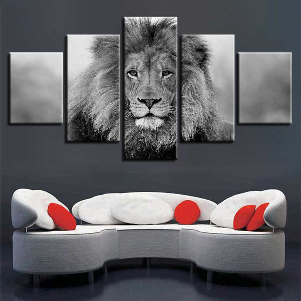 Black And White Animals Modular Canvas Pictures Art 5 Pieces Lion Poster Decor Living Room Wall HD Printing Paintings Framework