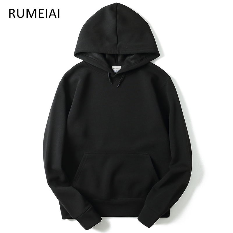 RUMEIAI 2017 New brand Hoodie Streetwear Hip Hop red Black gray pink Hooded Hoody Mens Hoodies and Sweatshirts Size M-XXL