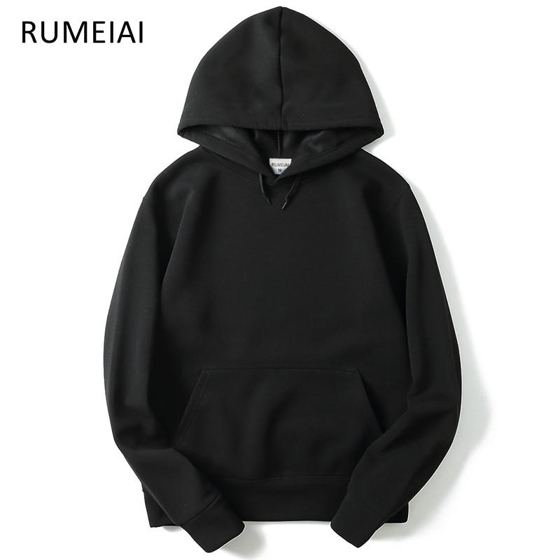 Rumeiai 2017 Новый бренд балахон уличной хип-хоп красный черный серый розовый с капюшоном Толстовка мужская Толстовки и свитшоты Размеры m- XXL