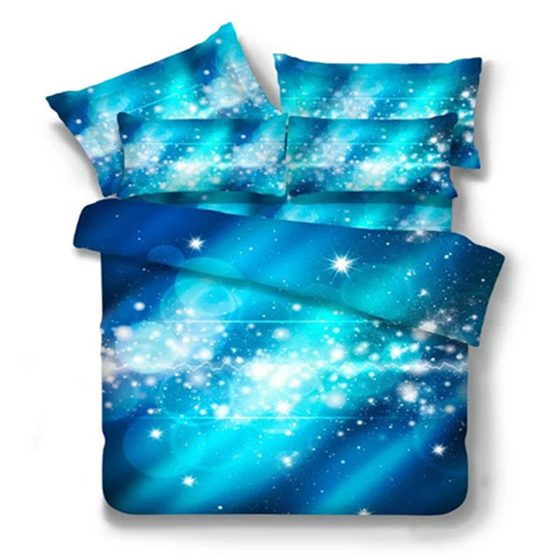 Blue starry sky 3D bedding sets-100% polyester duvet cover set,bedding quilt cover bed sheet pillowcase,queen size bed set