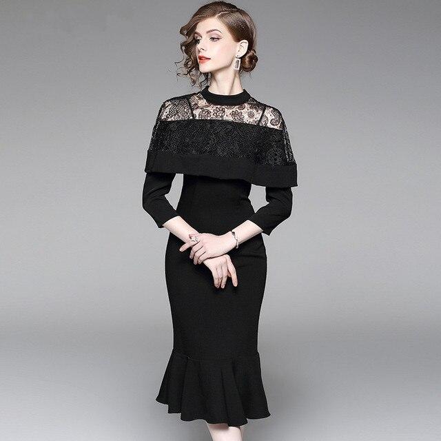 Elegant Women Black Knee Length Ladies Formal Dresses For Work