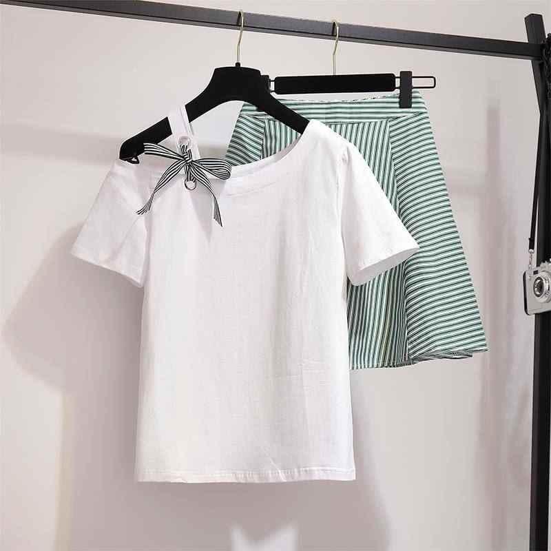 Летние модные женские туфли спортивный костюм футболки для девочек и юбка в полоску, костюмы комплекты Винтаж Сладкий Тонкий комплект из 2 частей наряды F134