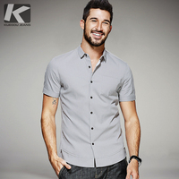 KUEGOU 2017 Summer Mens Casual Shirts Patchwork Gray Color Brand Clothing Man's Short Sleeve Slim Fit Clothes Male Tops 25515
