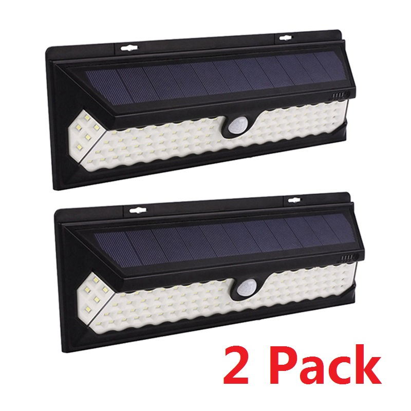 2 Pack 118 LED Solar Light Lamp Waterproof Motion Sensor Wall Lamp for Outdoor Yard Path