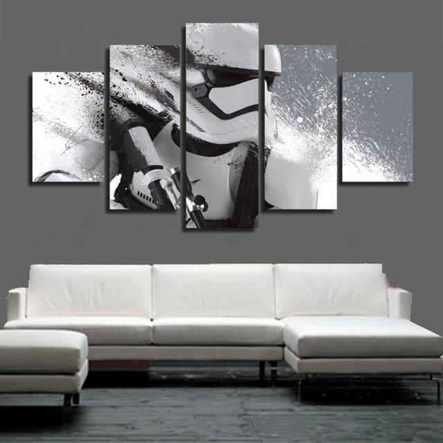 HD 5 Piece Canvas Art Printed Star Wars Storm Trooper Painting Livingroom  Wall Art Canvas Poster