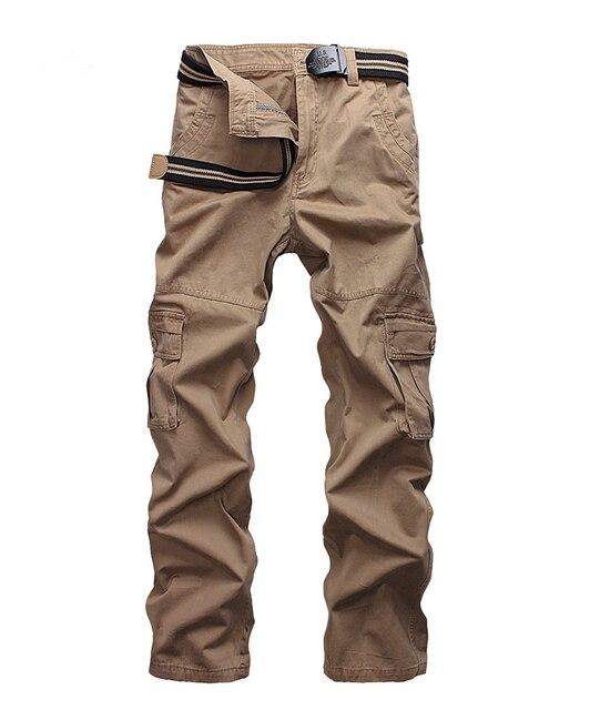 e5ff92521 € 25.35 40% de réduction|Grande taille hommes Cargo pantalon kaki printemps  été pantalons décontractés hommes Multi poche pleine longueur ...