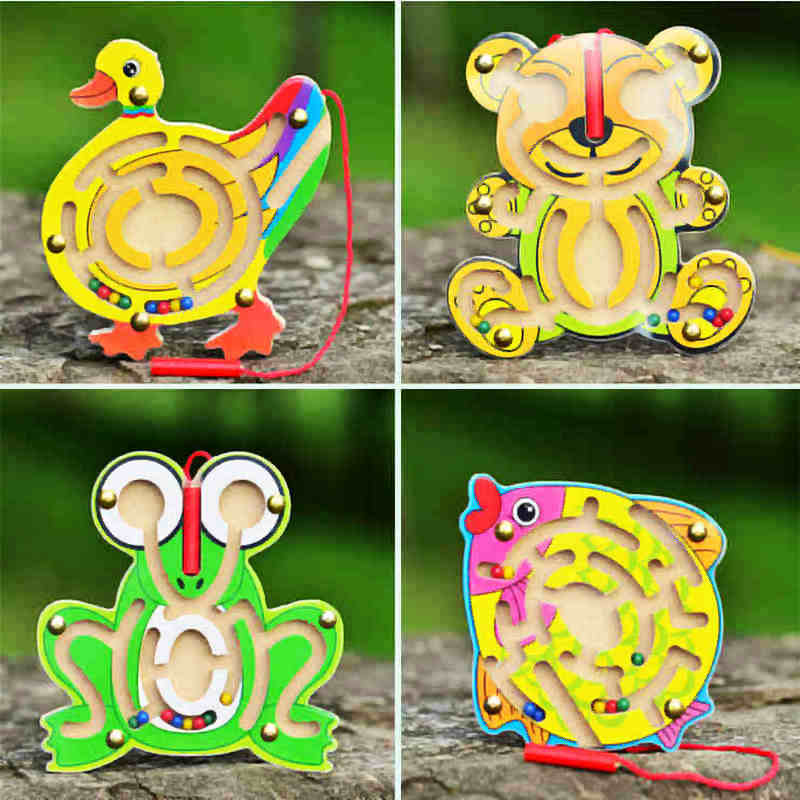 Livraison gratuite enfants en bois précoce grenouille / petit canard / ours / poissons labyrinthe magnétique jouets, enfants stylo en bois labyrinth jouet éducatif jeu