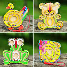 Free shipping Children's Wooden early Frog/Duckling/Bear/Fish Magnetic Maze toys, Kids wood pen labyrinth educational toy game