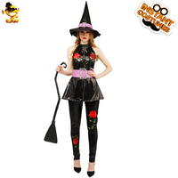 DSPLAY Halloween Witch Woman Outfits New Design Fashionable Cosplay Flower Fancy Dress Carnival Sexy Stylish Suits Party Costume