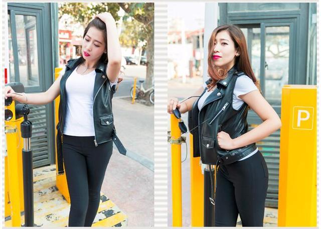 Envío libre, mujeres Del cuero Genuino corto delgado chaleco. Fresca motorbiker tamaño Asiático chalecos, chaqueta sin mangas femenina ovejas marca