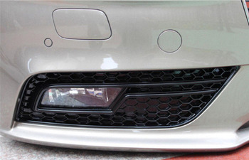 Gloss Black Honeycomb Style Fog Light Grille For Audi A4 B8 Facelift (B8.5) (Not for S-line or S4 bumper) grille