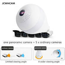 JCWHCAM Bulb Lamp Wireless IP Camera Wifi 960P Panoramic FishEye Home Security CCTV Camera 360 Degree Night Vision Support  64G