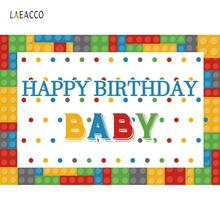 Vinyl Backgrounds For Photography Colorful Baby Toys Bricks Happy Birthday Banner BackdropS Photocall Photo Studio