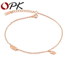 OPK Charming Good Luck Anklets For Women Rose Gold Color Stainless Steel Ladies Female Foot Bracelet Friendship Jewelry GZ025