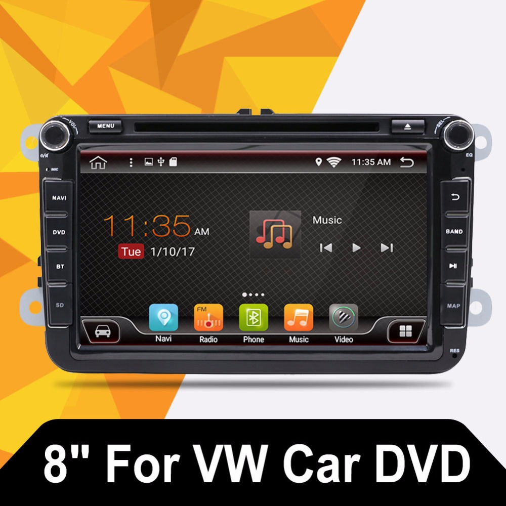 Android 7.1 2 DIN Car DVD for VW JETTA GOLF MK5 MK6 GTI PASSAT B6 POLO SKODA Fabia GPS Navigation Radio USB/SD PC country map luminous glow ignition switch decoration key ring sticker for skoda octavia fabia yeti vw passat bora polo golf 6 jetta mk5 mk6